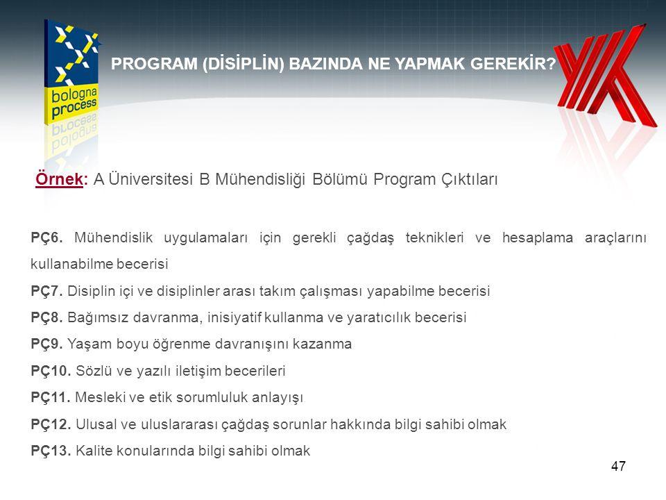 47 Örnek: A Üniversitesi B Mühendisliği Bölümü Program Çıktıları PÇ6.