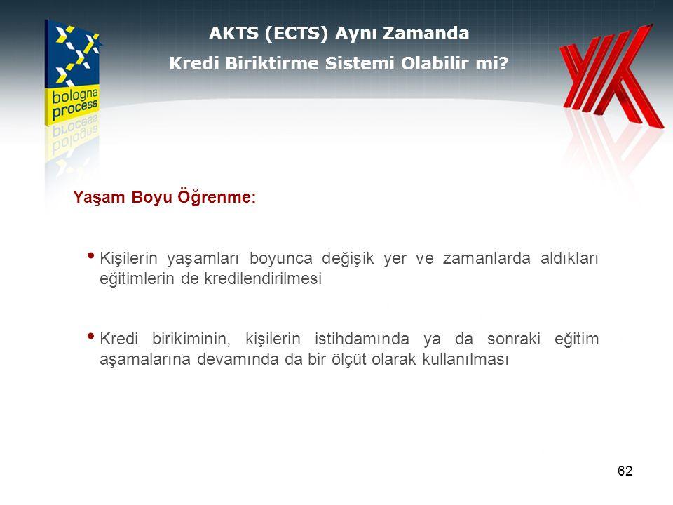 62 AKTS (ECTS) Aynı Zamanda Kredi Biriktirme Sistemi Olabilir mi.