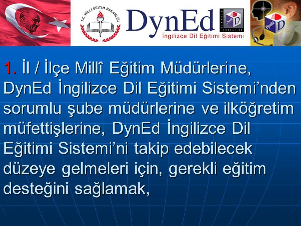 1. İl / İlçe Millî Eğitim Müdürlerine, DynEd İngilizce Dil Eğitimi Sistemi'nden sorumlu şube müdürlerine ve ilköğretim müfettişlerine, DynEd İngilizce