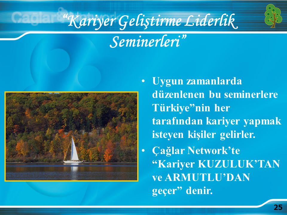 """25 """"Kariyer Geliştirme Liderlik Seminerleri"""" Uygun zamanlarda düzenlenen bu seminerlere Türkiye""""nin her tarafından kariyer yapmak isteyen kişiler geli"""