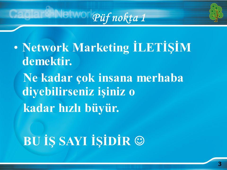 3 Püf nokta 1 Network Marketing İLETİŞİM demektir. Ne kadar çok insana merhaba diyebilirseniz işiniz o kadar hızlı büyür. BU İŞ SAYI İŞİDİR