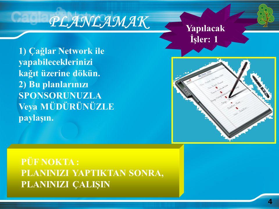 4 PLANLAMAK 1) Çağlar Network ile yapabileceklerinizi kağıt üzerine dökün. 2) Bu planlarınızı SPONSORUNUZLA Veya MÜDÜRÜNÜZLE paylaşın. PÜF NOKTA : PLA