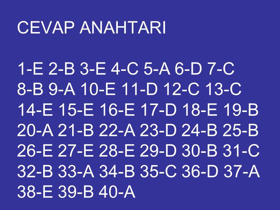 CEVAP ANAHTARI 1-E 2-B 3-E 4-C 5-A 6-D 7-C 8-B 9-A 10-E 11-D 12-C 13-C 14-E 15-E 16-E 17-D 18-E 19-B 20-A 21-B 22-A 23-D 24-B 25-B 26-E 27-E 28-E 29-D