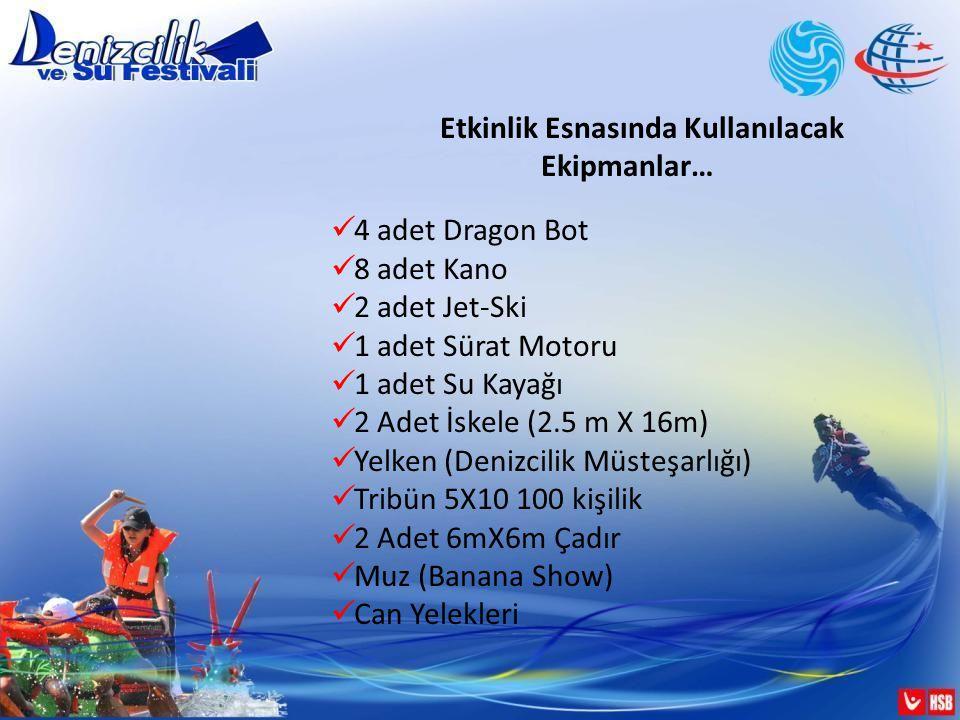 Etkinlik Esnasında Kullanılacak Ekipmanlar… 4 adet Dragon Bot 8 adet Kano 2 adet Jet-Ski 1 adet Sürat Motoru 1 adet Su Kayağı 2 Adet İskele (2.5 m X 16m) Yelken (Denizcilik Müsteşarlığı) Tribün 5X10 100 kişilik 2 Adet 6mX6m Çadır Muz (Banana Show) Can Yelekleri