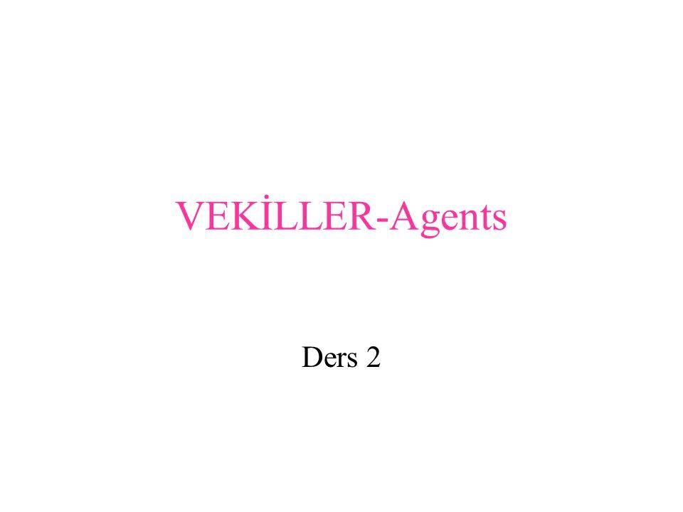 Mantıklı Vekiller –logical agent Algılaya bildiklerine ve yapa bildiklerine dayanarak doğru şeyler yapmak için çaba gösteren vekiller.