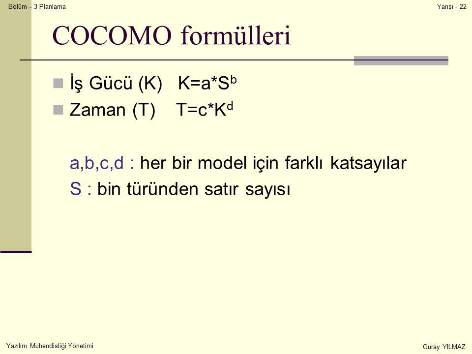 Bölüm – 3 Planlama Yazılım Mühendisliği Yönetimi Güray YILMAZ Yansı - 22 COCOMO formülleri İş Gücü (K) K=a*S b Zaman (T) T=c*K d a,b,c,d : her bir model için farklı katsayılar S : bin türünden satır sayısı