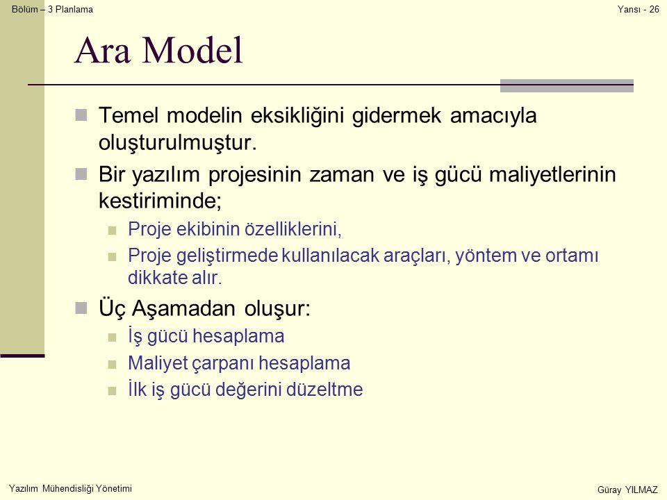 Bölüm – 3 Planlama Yazılım Mühendisliği Yönetimi Güray YILMAZ Yansı - 26 Ara Model Temel modelin eksikliğini gidermek amacıyla oluşturulmuştur. Bir ya