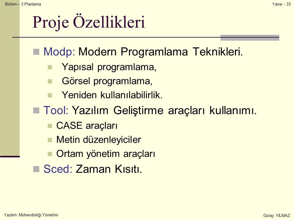 Bölüm – 3 Planlama Yazılım Mühendisliği Yönetimi Güray YILMAZ Yansı - 33 Proje Özellikleri Modp: Modern Programlama Teknikleri. Yapısal programlama, G