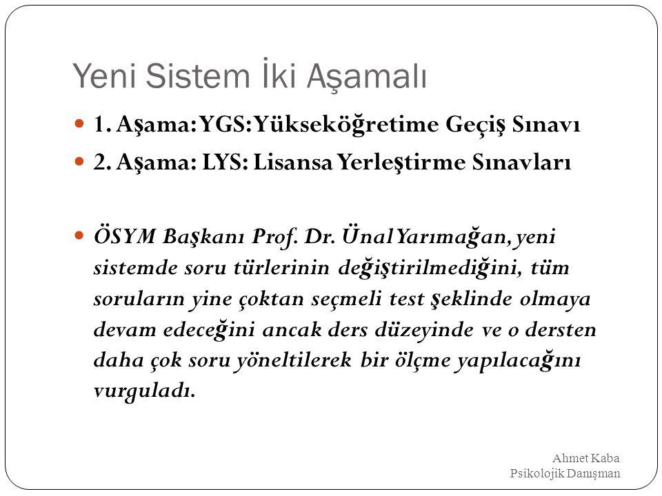 YGS'nin testleri ve ilgili dersler Ahmet Kaba Psikolojik Danışman 1) Türkçe (Dil ve Anlatım) Türkçe (Soru sayısının 40-45 arası olması beklenmektedir.)