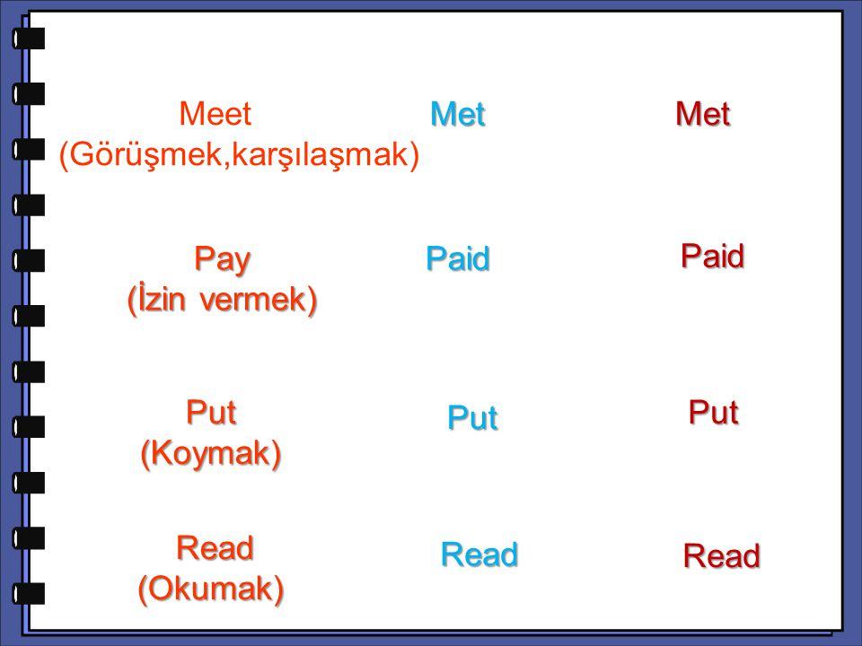 Paid Put (Koymak) Put Read (Okumak) Read (Okumak) Read Read Meet (Görüşmek,karşılaşmak) Meet (Görüşmek,karşılaşmak) Met Met Met Pay (İzin vermek) Paid