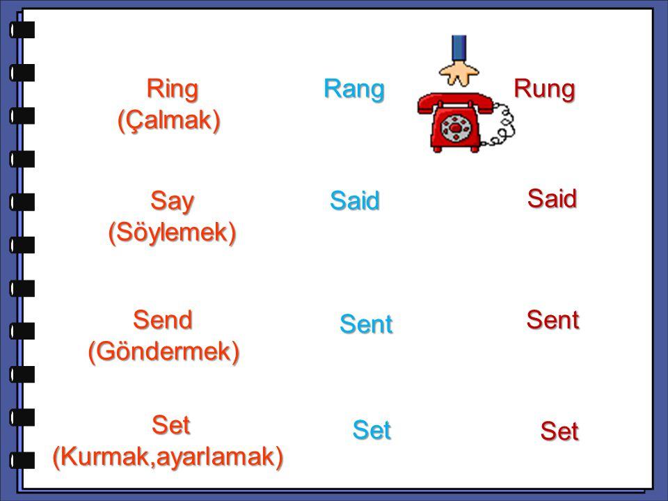 Said Send (Göndermek) Sent Set (Kurmak,ayarlamak) Set (Kurmak,ayarlamak) Set Set Ring (Çalmak) Ring (Çalmak) Rang Rang Rung Say (Söylemek) Said Said S