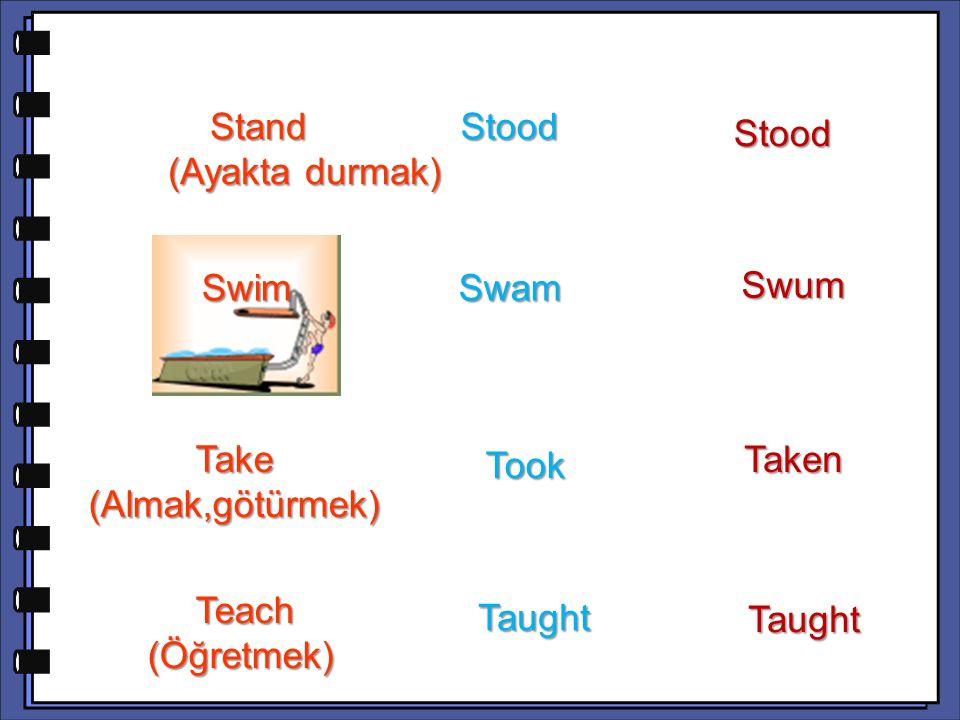 Swum Take (Almak,götürmek) Taken Teach (Öğretmek) Teach (Öğretmek) Taught Taught Stand (Ayakta durmak) Stand (Ayakta durmak) Stood Stood Stood Swim Sw