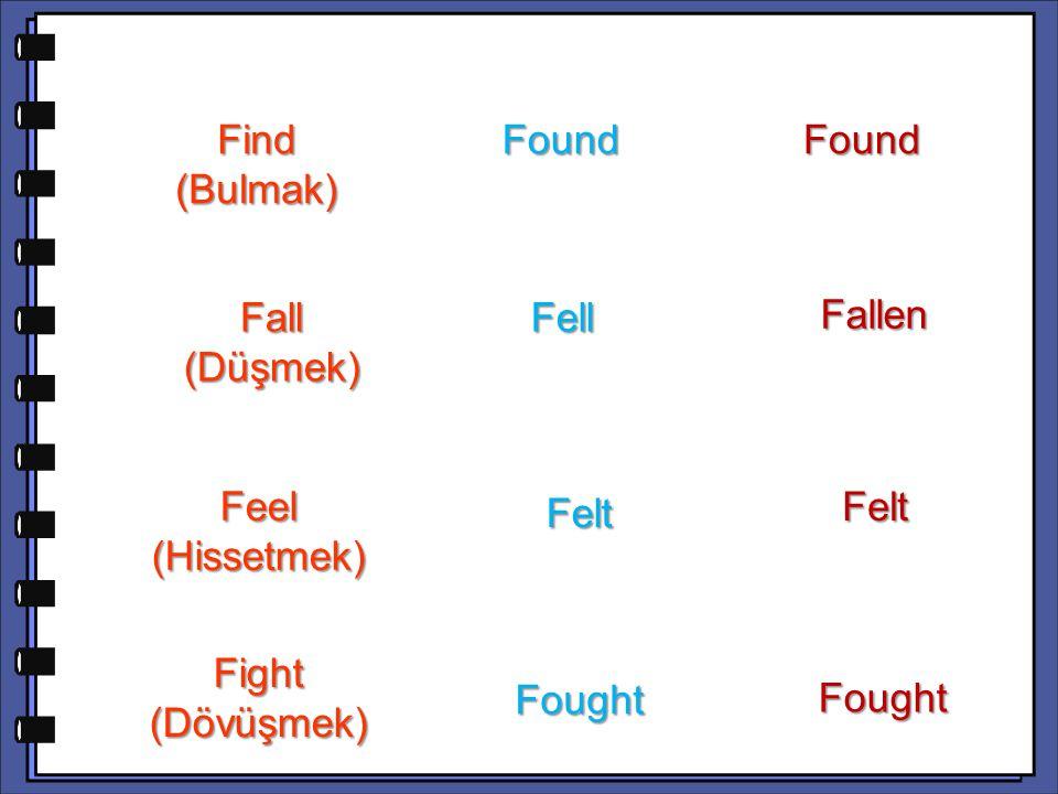 Forgotten Freeze (Donmak) Frozen Get (Almak,edinmek) Got Got Fly (Uçmak) Flew Flew Flown Forget (Unutmak) Forgot Forgot Froze