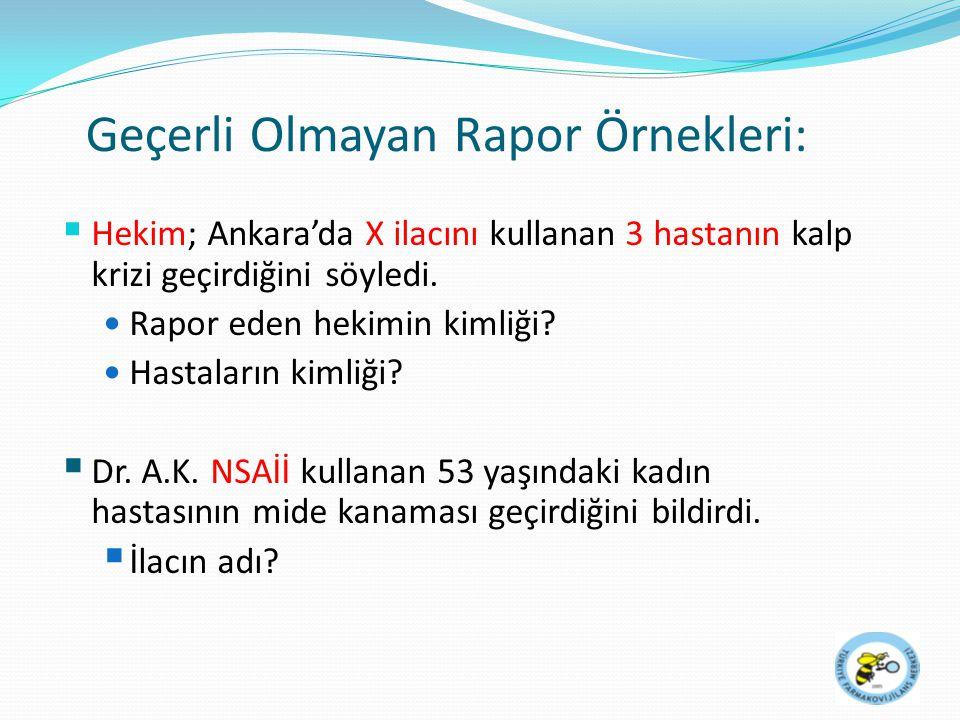 Geçerli Olmayan Rapor Örnekleri:  Hekim; Ankara'da X ilacını kullanan 3 hastanın kalp krizi geçirdiğini söyledi. Rapor eden hekimin kimliği? Hastalar