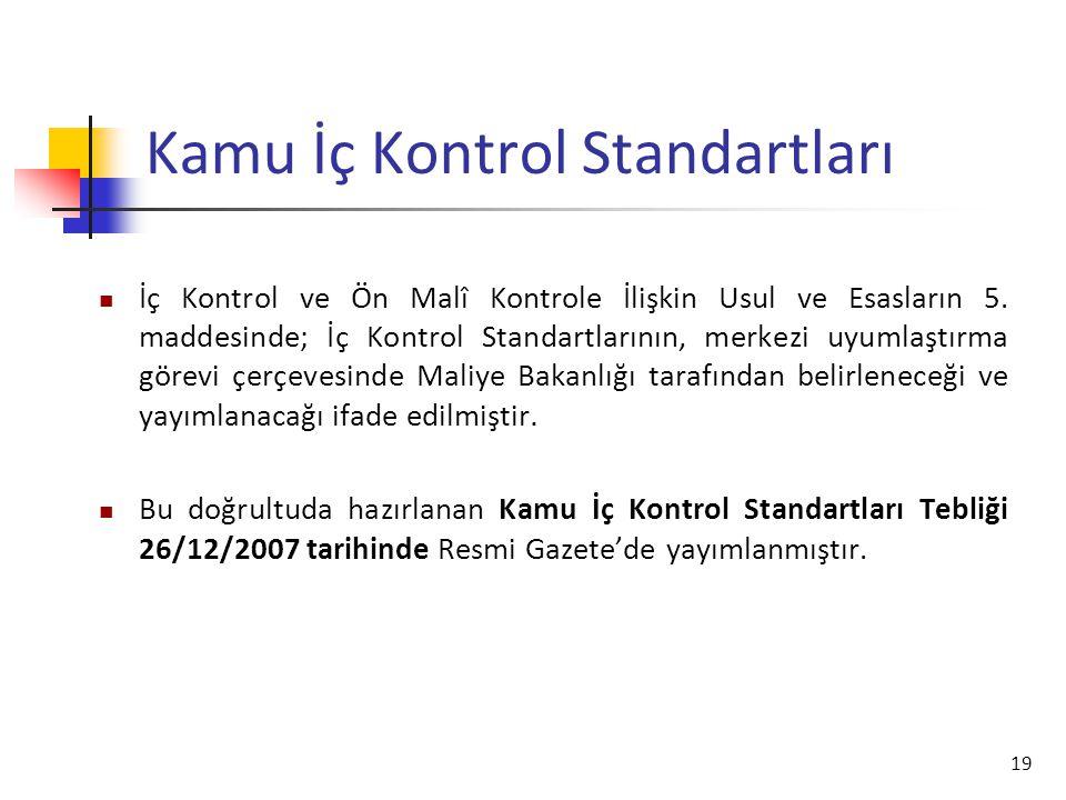 19 Kamu İç Kontrol Standartları İç Kontrol ve Ön Malî Kontrole İlişkin Usul ve Esasların 5. maddesinde; İç Kontrol Standartlarının, merkezi uyumlaştır