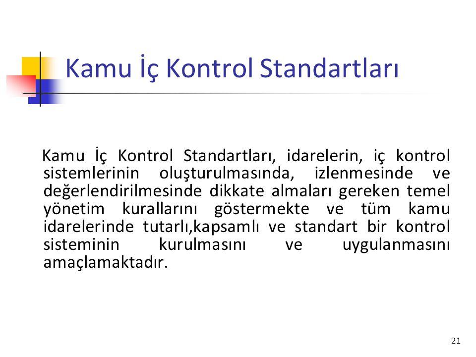 21 Kamu İç Kontrol Standartları Kamu İç Kontrol Standartları, idarelerin, iç kontrol sistemlerinin oluşturulmasında, izlenmesinde ve değerlendirilmesi