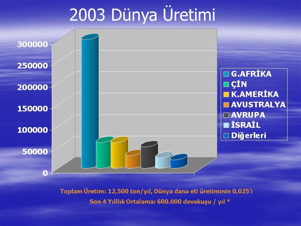 Toplam Üretim: 12,500 ton/yıl, Dünya dana eti üretiminin 0,025'i Son 4 Yılllık Ortalama: 600.000 devekuşu / yıl * 2003 Dünya Üretimi