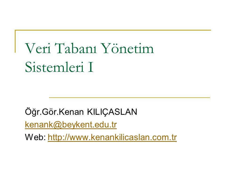 Veri Tabanı Yönetim Sistemleri I Öğr.Gör.Kenan KILIÇASLAN kenank@beykent.edu.tr Web: http://www.kenankilicaslan.com.trhttp://www.kenankilicaslan.com.tr
