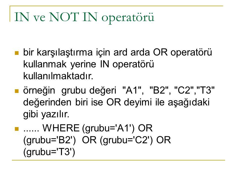 IN ve NOT IN operatörü bir karşılaştırma için ard arda OR operatörü kullanmak yerine IN operatörü kullanılmaktadır.