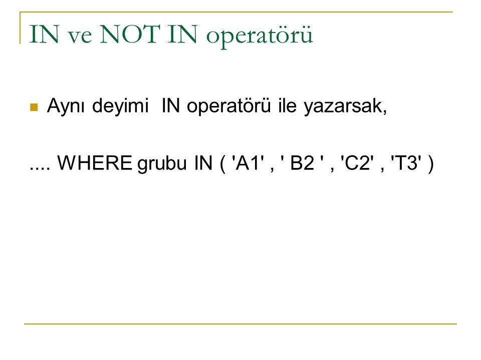 IN ve NOT IN operatörü Aynı deyimi IN operatörü ile yazarsak,....