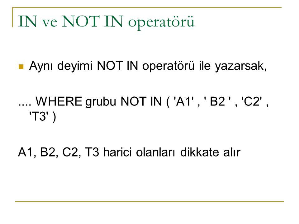 IN ve NOT IN operatörü Aynı deyimi NOT IN operatörü ile yazarsak,....