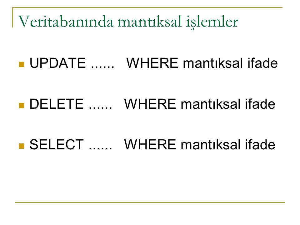 Veritabanında mantıksal işlemler mantıksal ifadenin doğru (true) sonuç verdiği kayıtlarda,  UPDATE  DELETE  SELECT işlemleri yapılabilir.