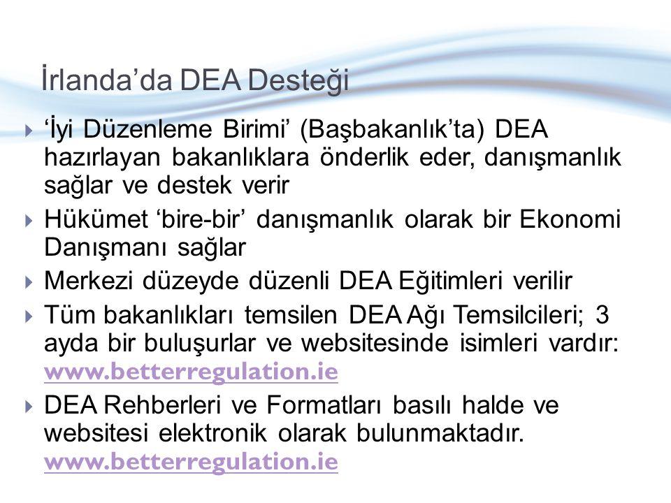 İrlanda'da DEA Desteği  'İyi Düzenleme Birimi' (Başbakanlık'ta) DEA hazırlayan bakanlıklara önderlik eder, danışmanlık sağlar ve destek verir  Hükümet 'bire-bir' danışmanlık olarak bir Ekonomi Danışmanı sağlar  Merkezi düzeyde düzenli DEA Eğitimleri verilir  Tüm bakanlıkları temsilen DEA Ağı Temsilcileri; 3 ayda bir buluşurlar ve websitesinde isimleri vardır: www.betterregulation.ie www.betterregulation.ie  DEA Rehberleri ve Formatları basılı halde ve websitesi elektronik olarak bulunmaktadır.