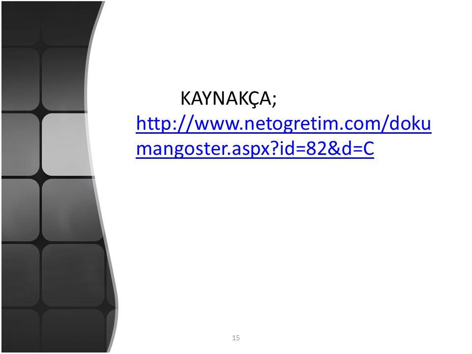 15 KAYNAKÇA; http://www.netogretim.com/doku mangoster.aspx id=82&d=C http://www.netogretim.com/doku mangoster.aspx id=82&d=C