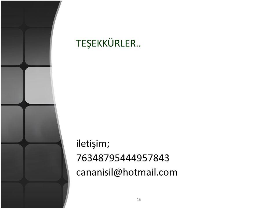 16 TEŞEKKÜRLER.. iletişim; 76348795444957843 cananisil@hotmail.com