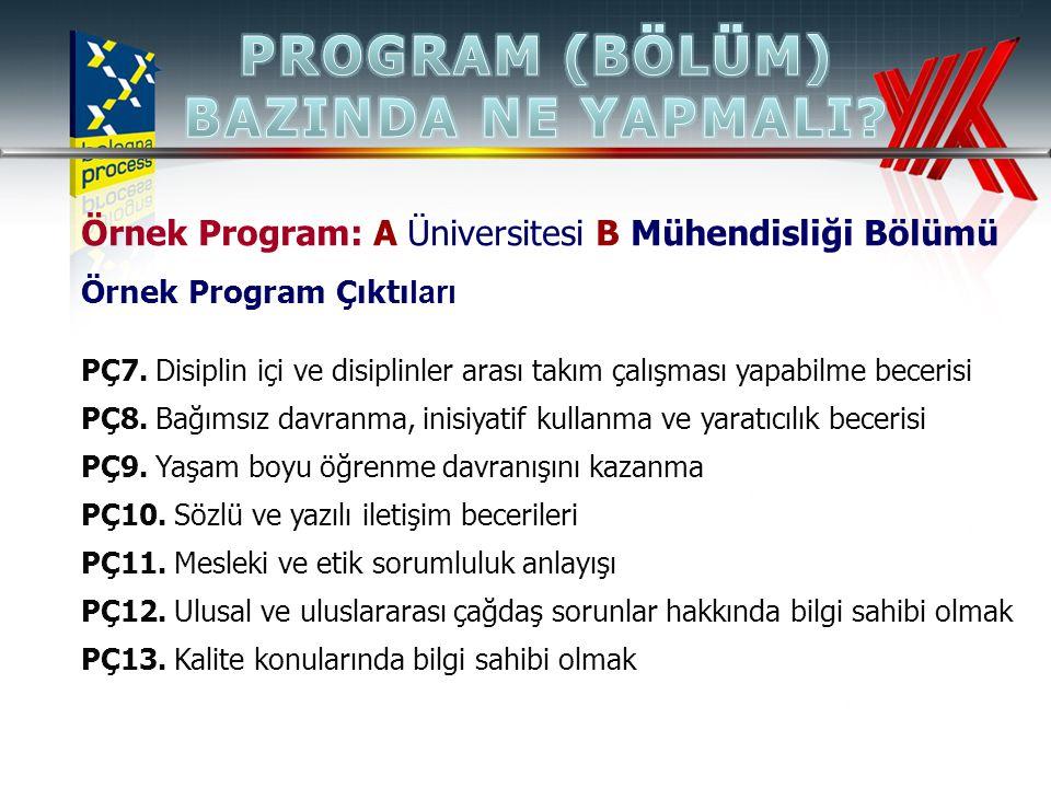 Örnek Program: A Üniversitesi B Mühendisliği Bölümü Örnek Program Çıktı ları PÇ7. Disiplin içi ve disiplinler arası takım çalışması yapabilme becerisi