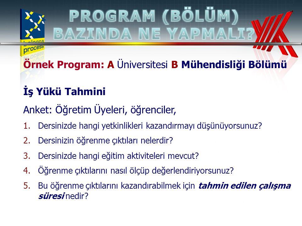 Örnek Program: A Üniversitesi B Mühendisliği Bölümü İş Yükü Tahmini Anket: Öğretim Üyeleri, öğrenciler, 1.Dersinizde hangi yetkinlikleri kazandırmayı