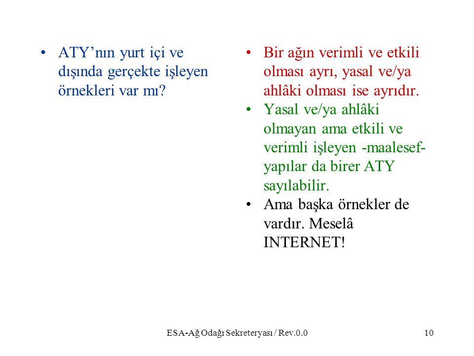 ESA-Ağ Odağı Sekreteryası / Rev.0.010 ATY'nın yurt içi ve dışında gerçekte işleyen örnekleri var mı.