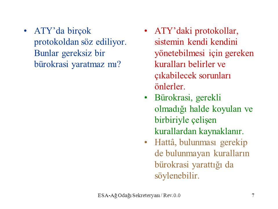 ESA-Ağ Odağı Sekreteryası / Rev.0.07 ATY'da birçok protokoldan söz ediliyor.
