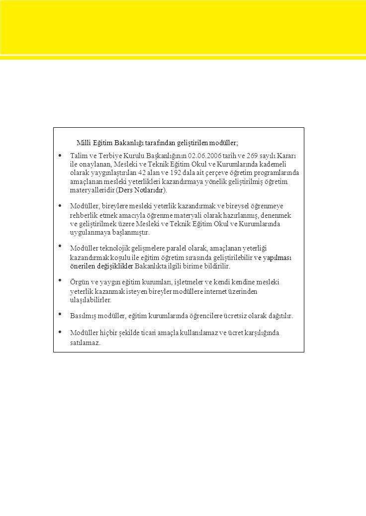 Milli Eğitim Bakanlığı tarafından geliştirilen modüller;  Talim ve Terbiye Kurulu Başkanlığının 02.06.2006 tarih ve 269 sayılı Kararı ile