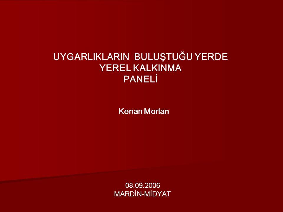 UYGARLIKLARIN BULUŞTUĞU YERDE YEREL KALKINMA PANELİ Kenan Mortan 08.09.2006 MARDİN-MİDYAT