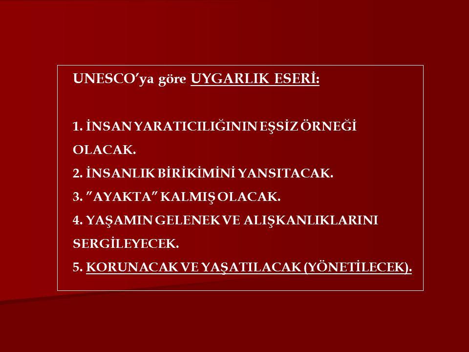 UNESCO'ya göre UYGARLIK ESERİ: 1. İNSAN YARATICILIĞININ EŞSİZ ÖRNEĞİ OLACAK.