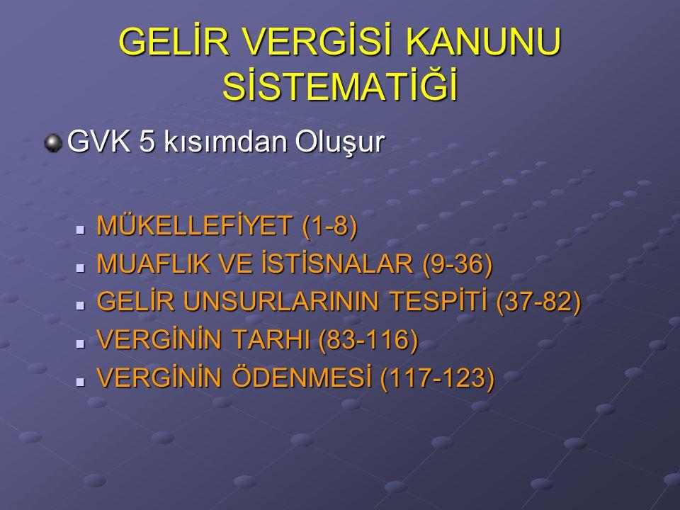 GELİR VERGİSİ KANUNU SİSTEMATİĞİ GVK 5 kısımdan Oluşur MÜKELLEFİYET (1-8) MÜKELLEFİYET (1-8) MUAFLIK VE İSTİSNALAR (9-36) MUAFLIK VE İSTİSNALAR (9-36)
