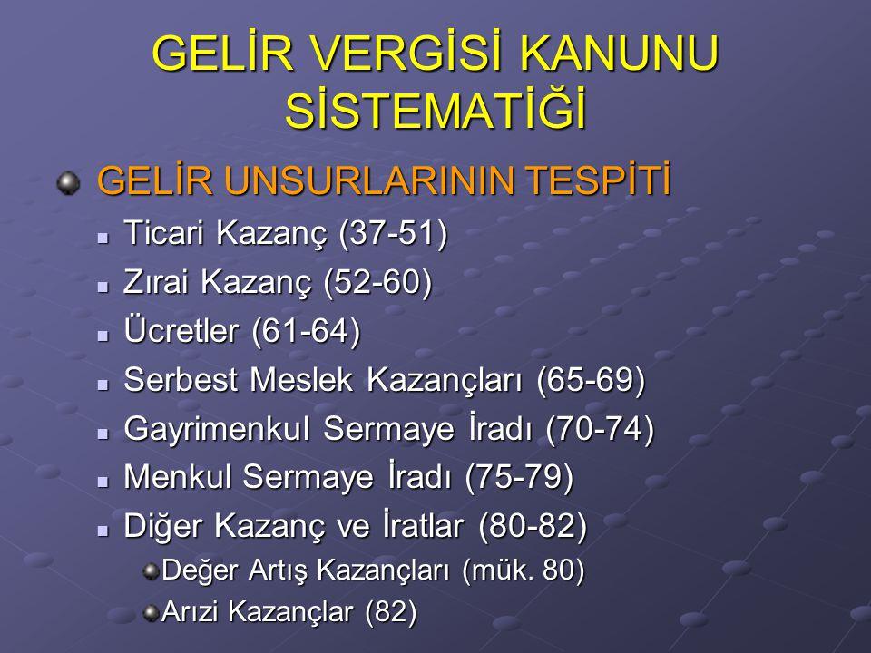 GELİR VERGİSİ KANUNU SİSTEMATİĞİ GELİR UNSURLARININ TESPİTİ GELİR UNSURLARININ TESPİTİ Ticari Kazanç (37-51) Ticari Kazanç (37-51) Zırai Kazanç (52-60
