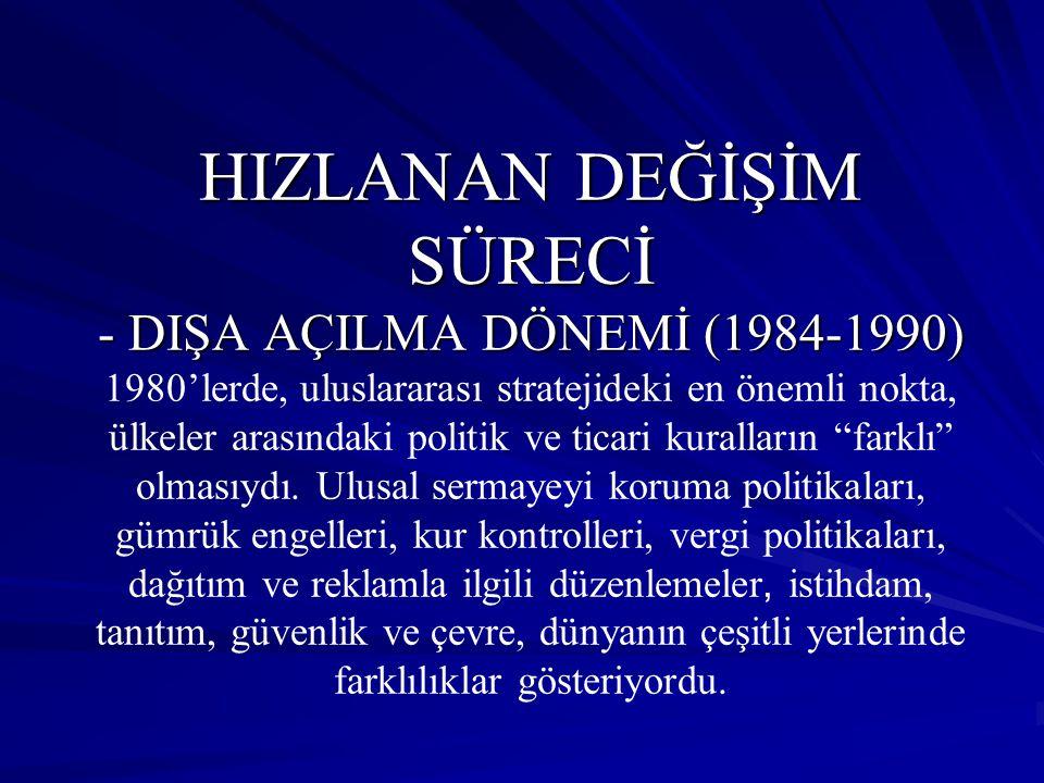 HIZLANAN DEĞİŞİM SÜRECİ - DIŞA AÇILMA DÖNEMİ (1984-1990) HIZLANAN DEĞİŞİM SÜRECİ - DIŞA AÇILMA DÖNEMİ (1984-1990) 1980'lerde, uluslararası stratejidek