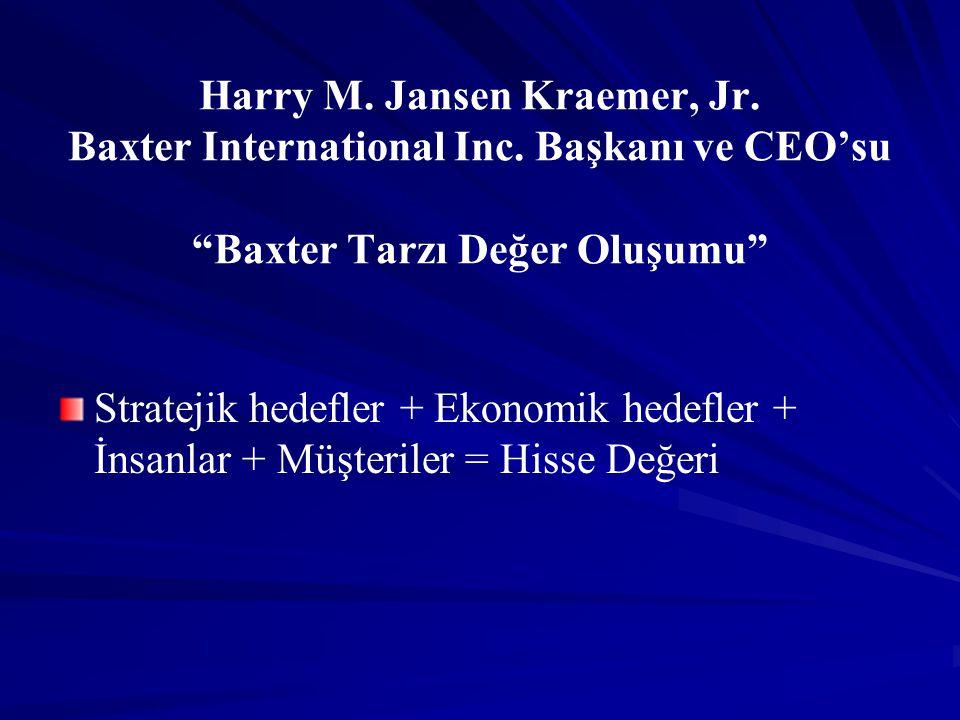 """Harry M. Jansen Kraemer, Jr. Baxter International Inc. Başkanı ve CEO'su """"Baxter Tarzı Değer Oluşumu"""" Stratejik hedefler + Ekonomik hedefler + İnsanla"""