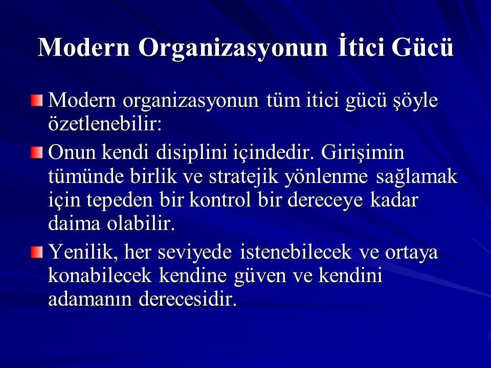 Modern Organizasyonun İtici Gücü Modern organizasyonun tüm itici gücü şöyle özetlenebilir: Onun kendi disiplini içindedir. Girişimin tümünde birlik ve