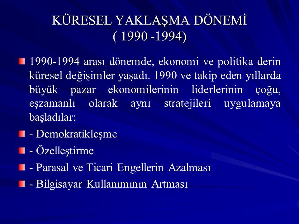 KÜRESEL YAKLAŞMA DÖNEMİ ( 1990 -1994) 1990-1994 arası dönemde, ekonomi ve politika derin küresel değişimler yaşadı. 1990 ve takip eden yıllarda büyük