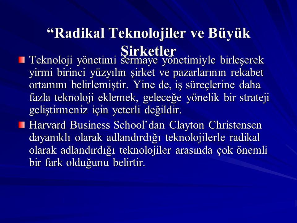 """""""Radikal Teknolojiler ve Büyük Şirketler Teknoloji yönetimi sermaye yönetimiyle birleşerek yirmi birinci yüzyılın şirket ve pazarlarının rekabet ortam"""