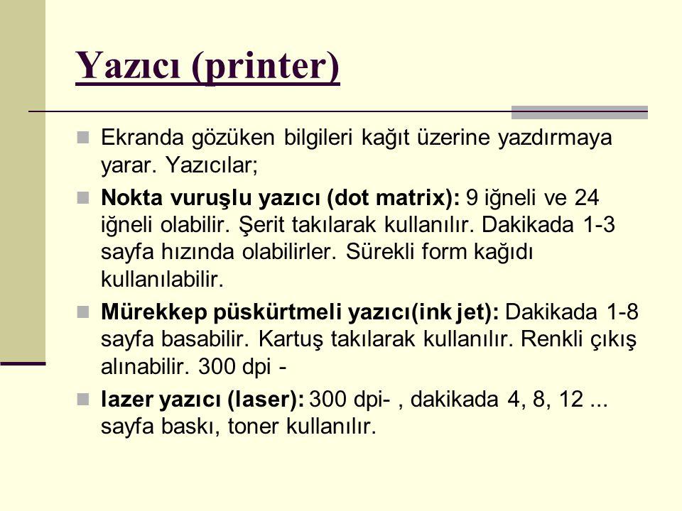 Yazıcı (printer) Ekranda gözüken bilgileri kağıt üzerine yazdırmaya yarar.