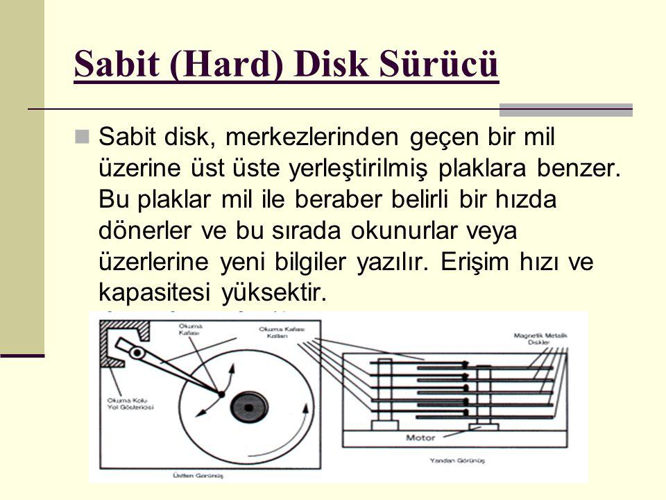 Sabit (Hard) Disk Sürücü Sabit disk, merkezlerinden geçen bir mil üzerine üst üste yerleştirilmiş plaklara benzer.