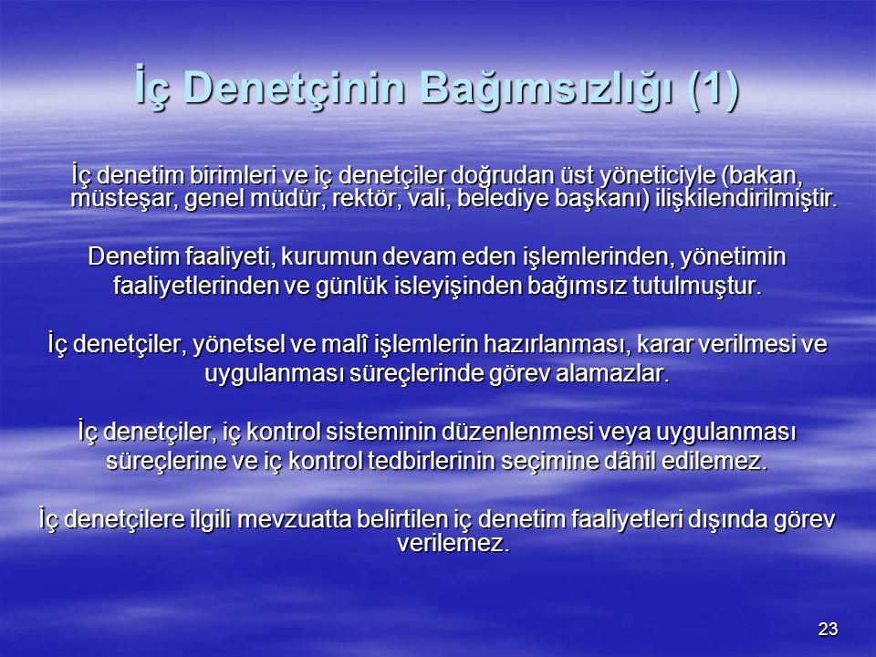 23 İç Denetçinin Bağımsızlığı (1) İç denetim birimleri ve iç denetçiler doğrudan üst yöneticiyle (bakan, müsteşar, genel müdür, rektör, vali, belediye