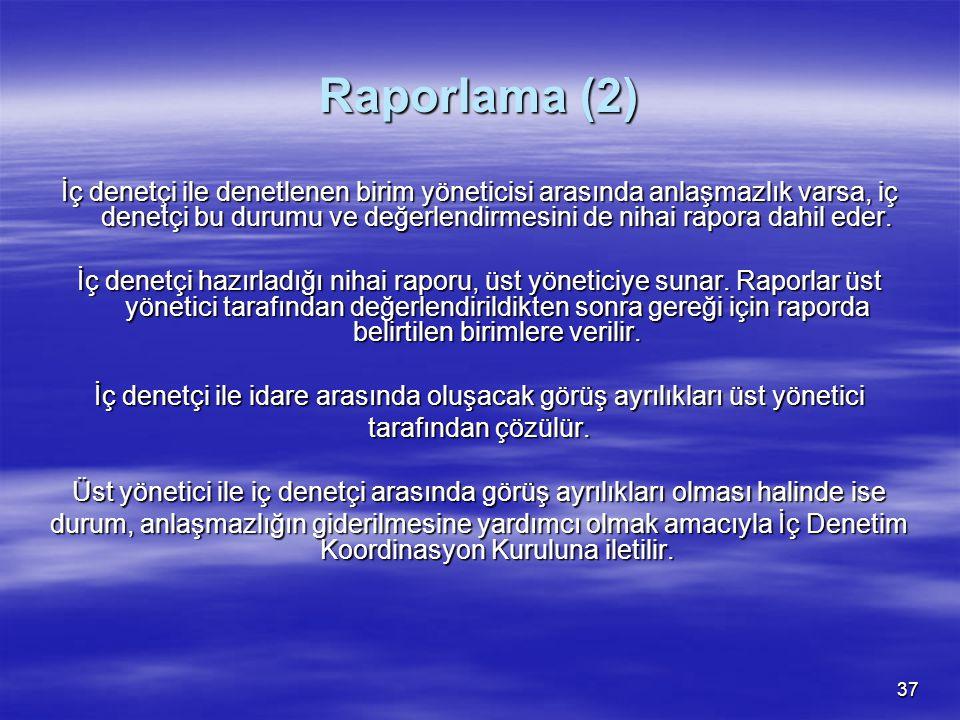 37 Raporlama (2) İç denetçi ile denetlenen birim yöneticisi arasında anlaşmazlık varsa, iç denetçi bu durumu ve değerlendirmesini de nihai rapora dahi