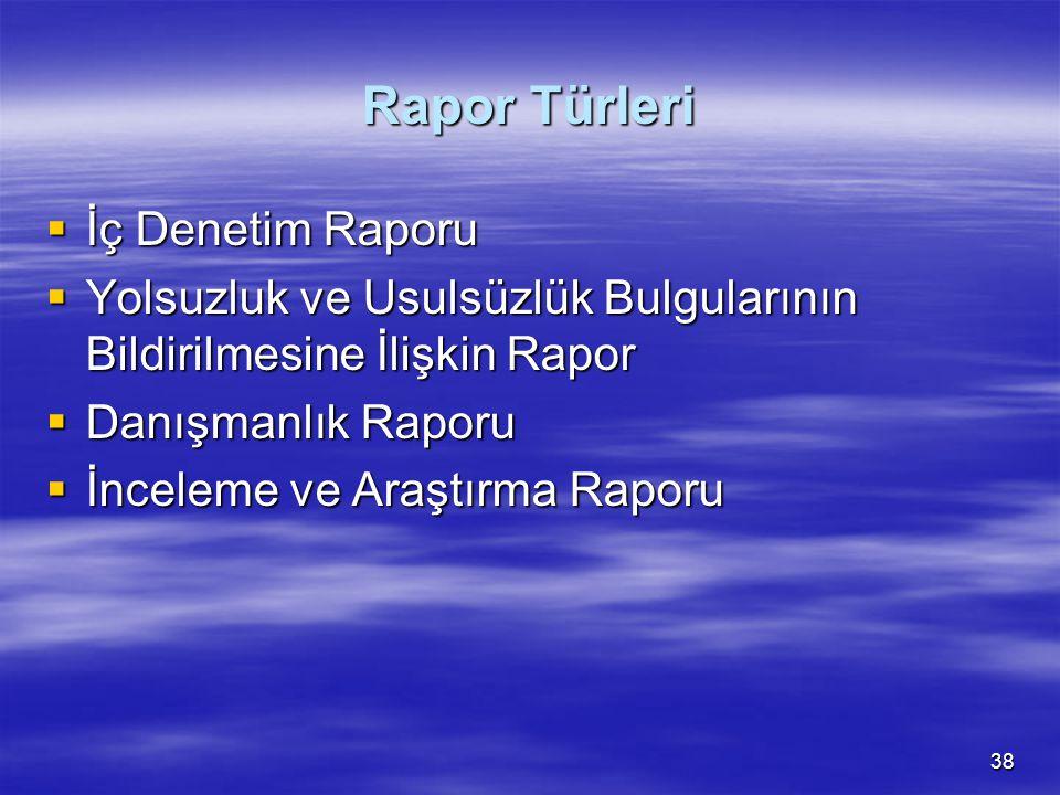 38 Rapor Türleri  İç Denetim Raporu  Yolsuzluk ve Usulsüzlük Bulgularının Bildirilmesine İlişkin Rapor  Danışmanlık Raporu  İnceleme ve Araştırma