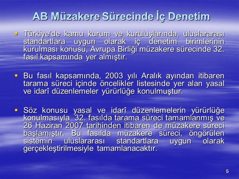 5 AB Müzakere Sürecinde İç Denetim AB Müzakere Sürecinde İç Denetim  Türkiye'de kamu kurum ve kuruluşlarında, uluslararası standartlara uygun olarak