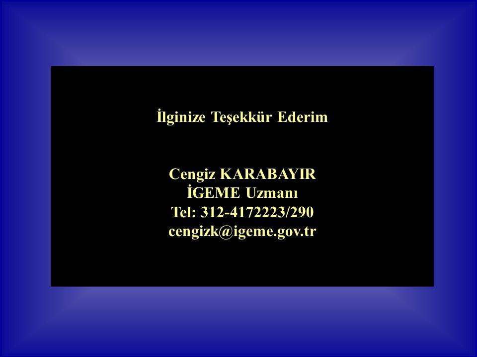 İlginize Teşekkür Ederim Cengiz KARABAYIR İGEME Uzmanı Tel: 312-4172223/290 cengizk@igeme.gov.tr